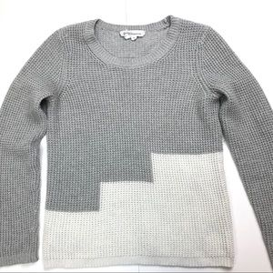 BCBGENERATION Color Block Sweater Gray White Small